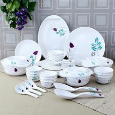Charmant KITCHEN AND DINING Servewell Leafy Urmi Dinner Set Of Thirty Six Pieces  White Grey,Dinner