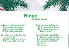 Poezie - Ninge de Otilia Cazimir Anul Nou, Nursery Rhymes, Romania, Amelia, Worksheets, Language, Songs, Education, School