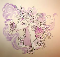"keysofshadowandlight:  THE LAST UNICORN Art is available and ready to ship. ON SALE $125 + Shipping. Inspired by the beautiful concept art of Hidemi Kubo for the animated film, Randy Queen perfectly captures the grace, elegance and lyricism of this classic story. This is not a print or reproduction. This wonderful piece of ORIGINAL ART in water color and ink, measures 11 x 12 "" on smooth bristol board, and makes a perfect gift for that special lady, or child in your life. Signed by the ..."