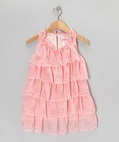 Take a look at this Pink Cutout Ruffle Dress - Toddler & Girls by Paulinie on #zulily today!