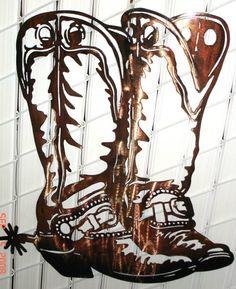 Cowboy Silhouette Patterns | cowboy boots wall art custom design made by hand plasma cut