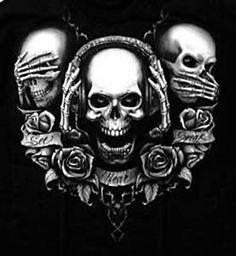 This photo was uploaded by Evil Skull Tattoo, Skull Tattoos, Body Art Tattoos, Sleeve Tattoos, Skull Head, Skull Art, Og Abel Art, Tattoo Caveira, Reaper Tattoo