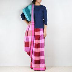 Pink Chequered Handwoven Cotton Saree  #saree #sarees #sari #indianethnic