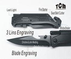 2 Groomsmen Gifts - Personalized knives, Engraved Custom Pocket Rescue Knives Groomsman Gifts / Led light, Bottle Opener, fire starter.