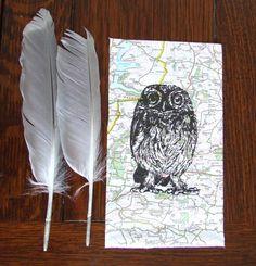 Owl Gocco Print Traveller Owl Little Owl Map Print by inkmeup