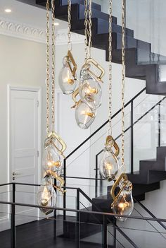 fab modern/sculptural lighting application in an 'Award Winning London Home' by; Dyer Grimes