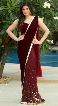 Fashion Sweet Pink: Zarin Khan In Designer Maroon Saree Pics