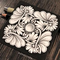 Black Micron PN liner on a white tile. Graphite pencil was used for shading. Tangle Doodle, Tangle Art, Doodle Art, Zen Doodle Patterns, Zentangle Patterns, Zentangle Drawings, Doodles Zentangles, Mandala Design, Mandala Art