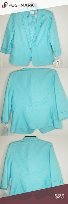 Blazer One button blazer. Two front small pockets. Color is a turquoise/pastel blue  (somewhere in that family). Good condition.  Very cute. Emma James Jackets & Coats Blazers