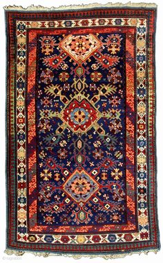 """Eastern Caucasian, """"Snow Flake"""" or so called, """"Dragon"""" design, Kuba Region, small rug. 3-7"""" x 5-10"""". C. 1880 Why waste your time collecting S. W. Caucasian pieces that we have all seen when ..."""
