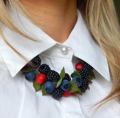 Berry Vintage Charm Necklace  woodland jewelry  nature lover