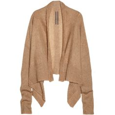 Rick Owens Draped mohair and silk-blend cardigan (790 RON) ❤ liked on Polyvore featuring tops, cardigans, sweaters, outerwear, jackets, brown, relaxed fit tops, drape front top, rick owens top and beige cardigan