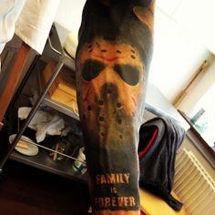 Jason (friday the 13th) - part of a horror themed sleeve