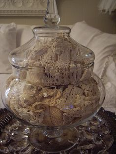 """What an absolutely wonderful way to """"display"""" my antique family made crocheted doilies. Just be sure to take out and move about periodically, and don't overstuff."""
