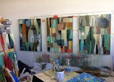 Paintings in progress by Claire B Cotts