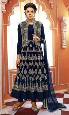 Navy Blue Crepe Anarkali Suit With Embroidery Work