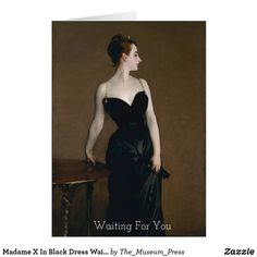 Madame X In Black Dress Waiting For You Sentiment Vintage Wall Art, Vintage Walls, Arts And Crafts Storage, Singer Sargent, Fold Envelope, Wedding Announcements, Wall Art Sets, Folded Cards, Custom Greeting Cards