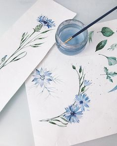 blue watercolor flowers - artist blue watercolor flowers Informations About bla. - blue watercolor flowers – artist blue watercolor flowers Informations About blaue Aquarellblumen - Tattoo On, Diy Tattoo, Art Floral, Painting & Drawing, Watercolor Paintings, Watercolors, Watercolor Water, Flower Watercolor, Drawing Hair