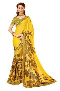 Yellow Colour China Chiffon Printed Saree Buy Sarees