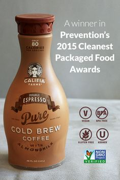 "One of 2015's ""Cleanest Packaged Foods"" according to @preventionmag - Califia Farms Double Espresso Cold Brew Iced Coffee with Almondmilk"