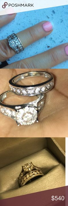 WEDDING BAND/engagement 10k white gold diamond set WEDDING BAND/engagement 10k white gold diamond set new  never worn comes w box, receipt, paperwork and lifetime stone replacement and cleaning from Zales see pics. Zales Jewelry Rings