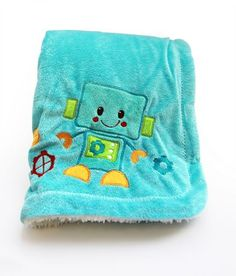 Baby's First by Nemcor Peek-A-Bot Applique Mink to Sherpa Blanket Baby Crib Bedding Sets, Baby Bedroom, Get Baby, Baby Boy, Applique, Soft Baby Blankets, Crib Skirts, Robot, Baby Online