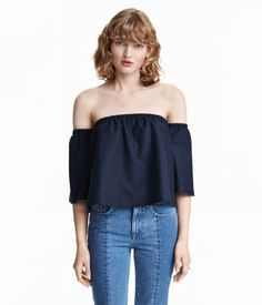 Dark blue. Short off-the-shoulder top in cotton-blend jersey with a loose fit…
