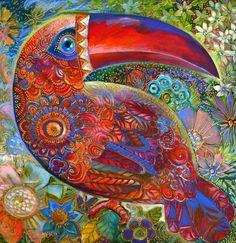 Oxana Zaika Premium Thick-Wrap Canvas Wall Art Print entitled Toucan Deco, None Canvas Art Prints, Fine Art Prints, Framed Canvas, Framed Prints, Lace Drawing, Ouvrages D'art, Byzantine Icons, Art Original, Oeuvre D'art