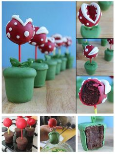 Piranha Plant cake pops | Nintendo NES Super Mario Brothers