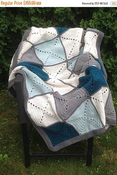 Grey and Teal Basic Granny Square Patchwork Crochet Afghan Point Granny Au Crochet, Granny Square Crochet Pattern, Crochet Squares, Crochet Blanket Patterns, Patchwork Blanket, Blue Blanket, Afghan Crochet, Crochet Blankets, Sunburst Granny Square
