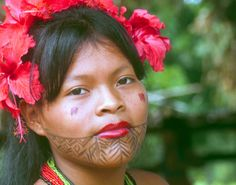 Embera woman, indigenous culture tours, Panama with Jagua on her face. Indigenous Tribes, Indigenous Communities, Latina, Jagua Tattoo, Half The Sky, Facial Tattoos, Tourism Day, Indian Tribes, Body Modifications