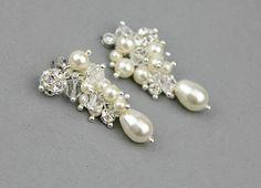 Pearl Earrings Swarovski Bridal Cluster by LavenderByJurgita, $49.00 Etsy