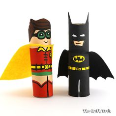 Create some cute Batman and Robin characters from paper rolls