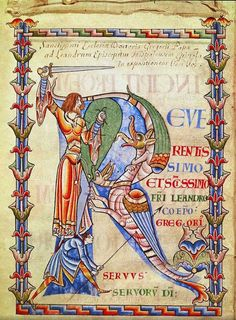 illuminated initial capital letter R in a medieval century manuscript of a letter of Gregory's to Saint Leander, bishop of Seville in Spain Book Of Kells, Medieval Manuscript, Medieval Art, Illuminated Letters, Illuminated Manuscript, Sta Rita, Saint Gregory, Book Of Job, Armadura Medieval