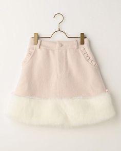 裾ファー台形スカート