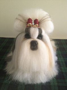 Needle wool felting of a show Shih Tzu by KathycCollection on Etsy, $200.00