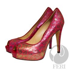 "FERI- VENUS - SHOES - Red and Pink Print - Snake skin printed napa leather pump with stiletto heel - Napa leather sole and insole - Colour: Bright red/pink - FERI logo hardware on sole and outside of heel - Heel height: 4.75"" with a platform 1.08""  Invest with confidence in FERI Designer Lines. www.gwtcorp.com/ghem or email fashionforghem.com for big discount"