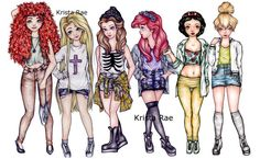 Modern+Hipster+Disney+Princesses+Art+Print+by+KristaRaeArt+on+Etsy