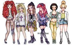 Modern+Hipster+Disney+Princesses+Art+Print+by+KristaRaeArt+on+Etsy