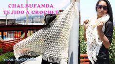 Chal Bufanda tejido a crochet en puntos garbanzos o punto puff paso a paso