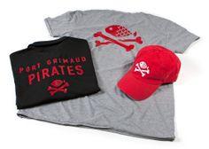 Kledingset met logo borduring op cap en rode bedrukking op shirts voor Van Dijk Waalwijk.