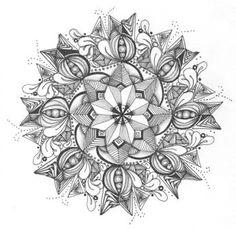 Zentangle mandala - AMAZING! Zentangle Drawings, Doodles Zentangles, Mandala Drawing, Zentangle Patterns, Doodle Drawings, Mandala Art, Tangle Doodle, Zen Doodle, Doodle Art