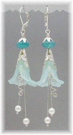Blue Ice Fairy Flower Earrings