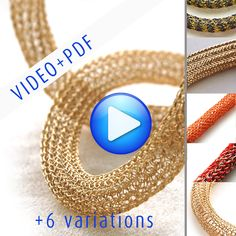 ONLINE Video tutorial for YoolaTube Plus PDF tutorial - how to crochet a wire gold necklace using a crochet hook and  wires. $23.00, via Etsy.