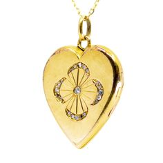 This stunning heart-shape locket feature Rose Cut Diamonds in Gold. Gold Locket, Rose Cut Diamond, Vintage Diamond, Heart Shapes, 18k Gold, Jewelry Gifts, Vintage Jewelry, Pendants, Pendant Necklace