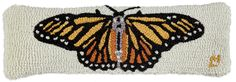 "Monarch Butterfly 8""x24"" Hooked Pillow - Chandler 4 Corners"