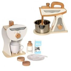 ☕️ Our love for wooden toys continues with this amazing range of white coffee machine, mixer & toaster IN STOCK now // check the whole range out online in our NEW ARRIVAL tab ✖️️️️leoandbella.com.au✖️#woodentoys #woodenkitchenset #woodenkitchenware #woodenkitchen #leoandbella