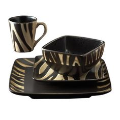 @Overstock - With a cream and black zebra pattern, these American Atelier dinnerware pieces will set your dinner table on a journey. These Safari plates, bowls and mugs offer service for four in a 16-piece set of earthenware china.http://www.overstock.com/Home-Garden/American-Atelier-Safari-Cream-Zebra-16-piece-Dinnerware-Set/5707743/product.html?CID=214117 $55.79