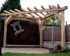 Landscaping And Outdoor Building , Unique Triangular Pergola : Solid Wood Triangular Pergola And Fences