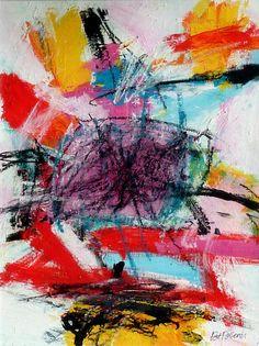 N°1091 Pat Pellerin. Acrylique et crayon gras sur carton toilé 40x50 cm.